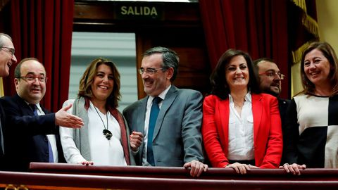 Los socialistas Miquel Iceta, Susana Díaz, Manuel Cruz, Contra Andreu y Francina Armengol