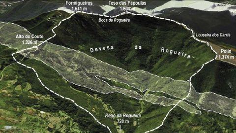 Un plano de la Devesa da Rogueira que aparece en el estudio publicado en la revista Recursos Rurais. La banda tranversal de color más claro señala las áreas en las que predominan los afloramientos de rocas carbonatadas, que dan lugar a un tipo diferente de suelos