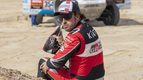Fernando Alonso, tras el accidente en la décima etapa del Dakar 2020