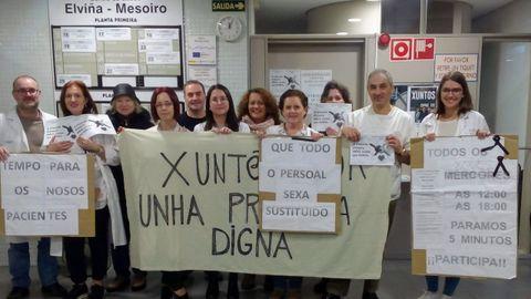 Imagen de archivo de una protesta de Atención Primaria en el centro de salud de Elviña