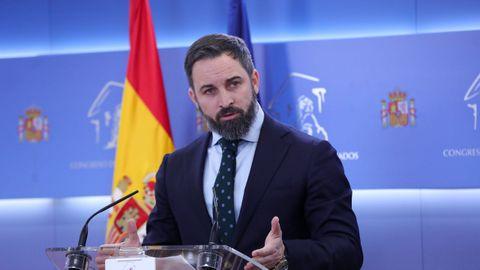 Santiago Abascal, presidente de Vox, este lunes en el Congreso