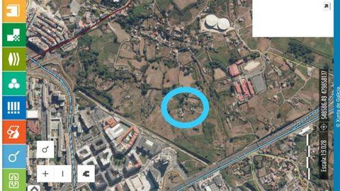 El lugar de Xuxán (dentro del círculo azul), en el 2010
