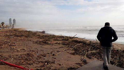 Una persona pasea este jueves por la playa de la Barceloneta, uno de los lugares más gravemente afectados por la borrasca Gloria