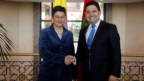 La ministra de Asuntos Exteriores, Arancha González Laya, se reunió este viernes en Rabat con su homólogo marroquí, Nasser Bourita