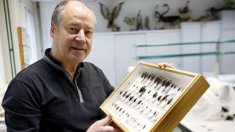 Salustiano Mato, no seu laboratorio da Universidade de Vigo, cun cadro entomolóxico