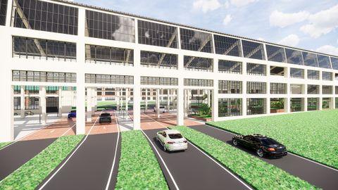 Infografía del proyecto de entrada a Oviedo por la fábrica de armas de la Vega propuesto por el bipartito