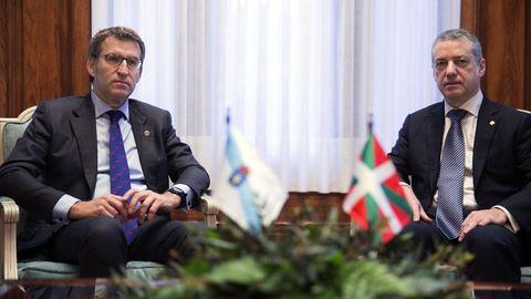 Feijoo y Urkullu, durante una visita del primero a la sede del Gobierno vasco en el 2016