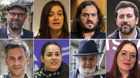 Arriba, de izquierda a derecha: Martiño Noriega (Anova), Eva Solla (EU), Antón Sánchez (Anova), Antón Gómez-Reino (Podemos). Abajo, de izquierda a derecha: Xulio Ferreiro (Marea Atlántica), Luca Chao (Podemos), Ánxela Rodríguez (Podemos) y Xosé Manuel Beiras (Anova)