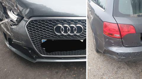 A la izquierda, los daños en el coche de Zidane; a la derecha, el estado del coche del valdeorrés