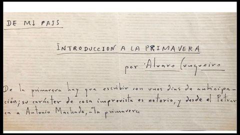 Fragmento de un manuscrito de un artículo incluido en el libro y que se publicó en La Voz de Galicia el 9 de marzo de 1952, «Introducción a la primavera»