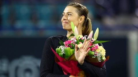 Sharapova tras su partido frente a Tomljanovic durante el torneo de Abu Dhabi en diciembre del 2019, una de sus últimas apariciones.