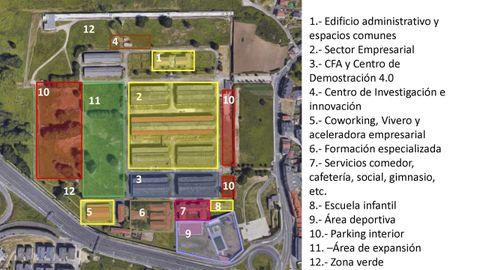 Los nuevos usos del complejo industrial de Pedralonga. El área central de la parcela acogerá el parque empresarial, de acceso restringido. Al oeste, un parque abierto a los vecinos. Al sur, escuela infantil, zona deportiva, comedor y espacios compartidos.