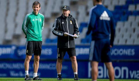 José Ángel Ziganda y Bingen Arostegui, durante un entrenamiento