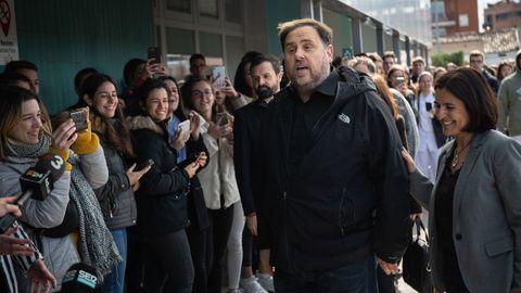 Junqueras, a su llegada a la Universidad de Vic, en Barcelona