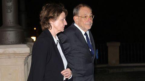 El político Javier Solana asiste este miércoles al funeral del empresario Plácido Arango, fallecido el pasado 17 de febrero a los 88 años. EFE/JUANJO MARTÍN
