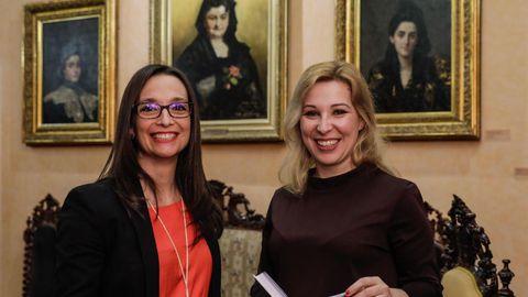 As autoras María Canosa e Inma López Silva, na Casa-Museo Emilia Pardo Bazán, na Coruña