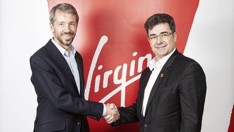 Josh Bayliss, consejero delegado del grupo Virgin, y José Miguel García, del grupo Euskaltel
