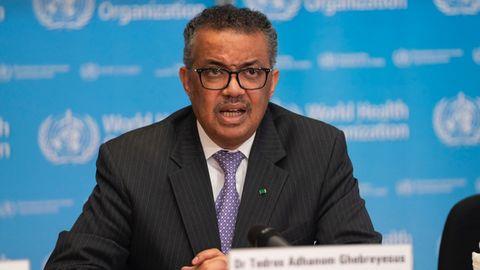 El director general de la Organización Mundial de la Salud (OMS), Tedros Adhanom Ghebreyesus, en la conferencia de prensa sobre COVID-19