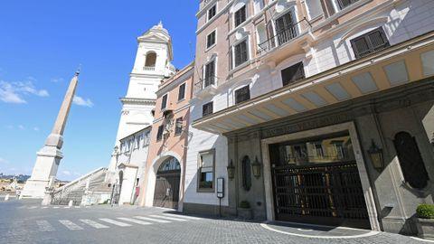 El hotel Hassler, uno de los más lujosos de Roma, cerrado.