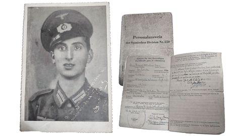 Los documentos de Juan. Natividad Martínez custodia algunos documentos que atestiguan el paso de su padre (en la foto) por la División Azul. De su tío no conserva ninguna imagen.