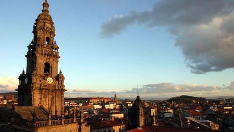 A torre do reloxo da catedral de Santiago