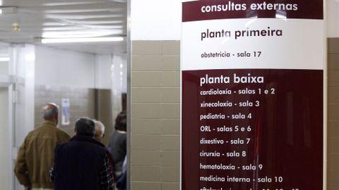 Imagen de archivo del servicio de consultas externas del hospital comarcal de Monforte. En Galicia hay cada mes unas 350.000 consultas externas, de las que al menos el 25% son pacientes nuevos