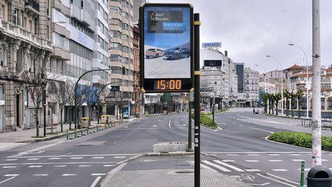 A Coruña, completamente desierta durante el estado de alarma