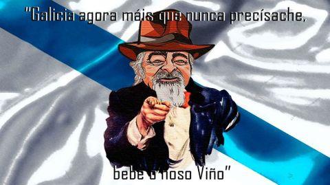 El famoso cartel del Tío Sam, en la versión de Luis Paadín para animar el consumo de vino gallego
