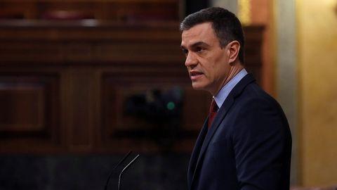 Pedro Sánchez, en su intervención en el Congreso