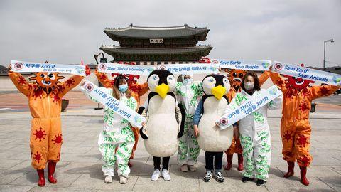 Miembros de la Asociación de Ciudadanos de Salud Ambiental de Corea reclaman mayor protección al medio ambiente