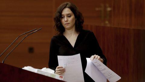 Ayuso, este miércoles, en la Asamblea de la Comunidad de Madrid
