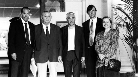 Cuatro históricos del club: Luis Suárez, Juan Acuña, Arsenio Iglesias y Carlos Ballesta.