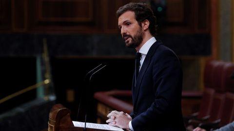 El líder del PP, Pablo Casado, durante su intervención en el pleno del Congreso