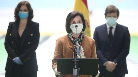 Margarita Robles, en la imagen, durante su discurso en el Palacio de Hielo, es la ministra mejor valorada por los expertos