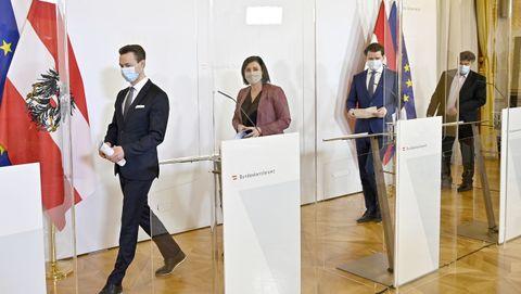 En Viena, los ministros austríacos comparecen detrás de mamparas