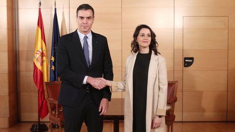 Sánchez y Arrimadas, en una reunión el 16 de diciembre del 2019