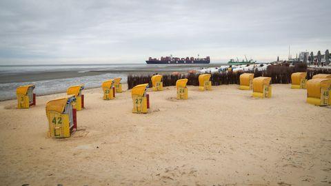 Sillas de playa en Duhnen, en el estuario del Elbe, en Cuxhaven, zona noroeste de Alemania