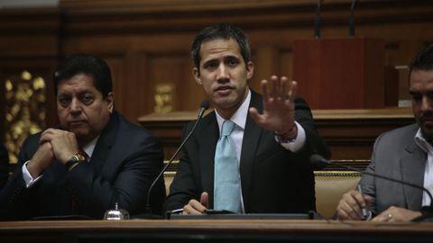 Guaidó, durante una sesión en el Parlamento venzolano en el 2019
