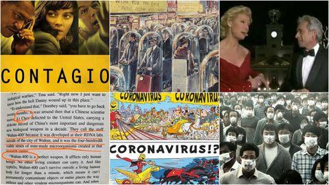 De izquierda a derecha y de arriba a abajo: cartel de la película «Contagio» (2011), ilustración de un semanario italiano (1962), Imanol Arias y Anne Igartiburu en las campanadas de 2012, extracto de la novela publicada en 1981 «Los ojos de la oscuridad», dibujo extraído de «Ásterix en Italia» (2017) y frame de la película surcoreana Virus (2013)
