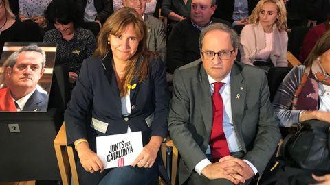 Borràs, junto a Torra, en un acto electoral el pasado año