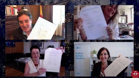 Luis García Montero, Iolanda Batallé, Rosario Álvarez e Irene Larraza firmaron telemáticamente el acuerdo