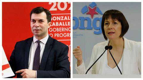Gonzalo Caballero, candidato del PSdeG-PSOE, y Ana Pontón, aspirante por el BNG