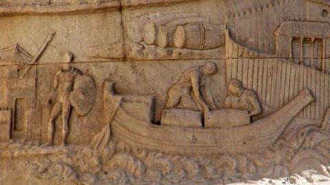 Relieve conservado en Roma en el que se aprecia el transporte en toneles mediante embarcaciones