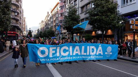 Manifestación por la oficialidad del Asturiano en Oviedo