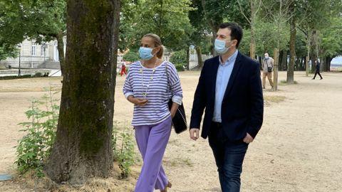 Carmela Silva, junto a Gonzalo Caballero, este miércoles en Pontevedra