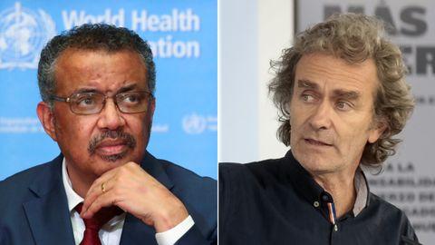 A la izquierda, el director general de la OMS, Tedros Adhanom Ghebreyesus. A la derecha, el director del Centro de Centro de Coordinación de Alertas y Emergencias Sanitarias, Fernando Simón
