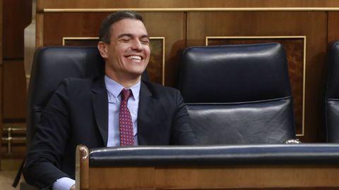Pedro Sánchez, este jueves, durante la sesión de control al Gobierno en el Congreso