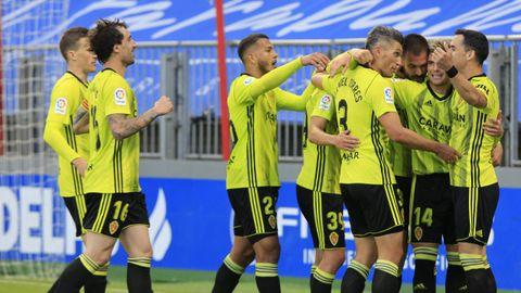 El Zaragoza celebrando uno de los goles