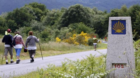 Un hito señalizador del Camino de Invierno en las cercanías de Diomondi, en O Saviñao
