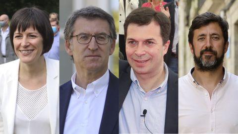 Ana Pontón, Alberto Núñez Feijoo, Gonzalo Caballero y Antón Gómez-Reino